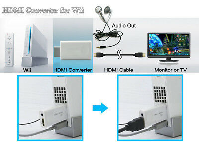 720P 1080P Full HD Wii to HDMI Video Converter 3.5mm Audio Adapter Upscaling AU 8
