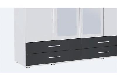 Kleiderschrank Rasant Extra Schrank 4 Türig Weiß Grau Metallic
