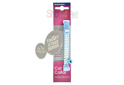 Ancol Cat Collar in Pink or Blue, With or Without a Engraved Pet ID Tag / Tags 4