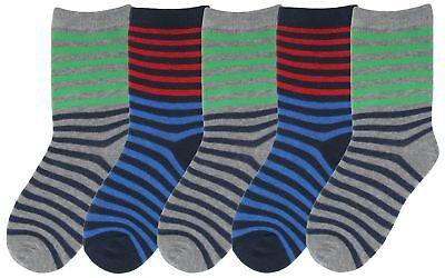 Modern Casuals Boys 5 Pairs Striped Cotton Rich Socks 3
