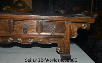 "25.2"" Antique Old China Huanghuali Wood Dynasty 3 drawer Desk Table furniture 4"