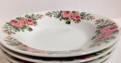 "Gibson Housewares Pink Roses Rimmed Soup / Cereal Bowl 8"" Set of 4 4"