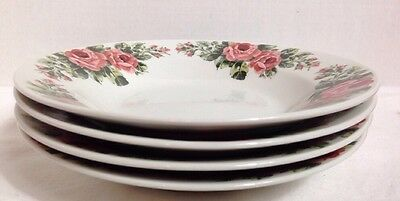 "Gibson Housewares Pink Roses Rimmed Soup / Cereal Bowl 8"" Set of 4 3"