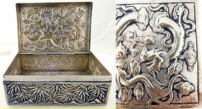 Antique Chinese Export Silver Box Humidor Wang Hing Dragons Bamboo (5572) 4