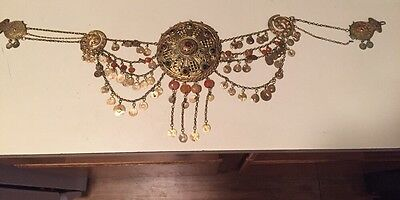 Antique Greek Gilded Belt W. Pendant Ahati Stones - Over 100 Years Old! 2
