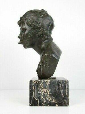 Importante Escultura Busto Niño Niño Pobre Fusión en Bronce en Mármol Xx Sec 4