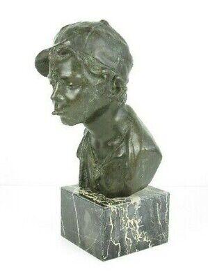 Importante Escultura Busto Niño Niño Pobre Fusión en Bronce en Mármol Xx Sec 3