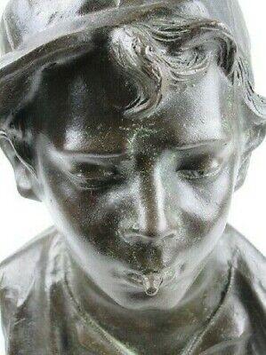 Importante Escultura Busto Niño Niño Pobre Fusión en Bronce en Mármol Xx Sec 8