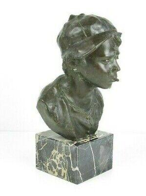 Importante Escultura Busto Niño Niño Pobre Fusión en Bronce en Mármol Xx Sec 2