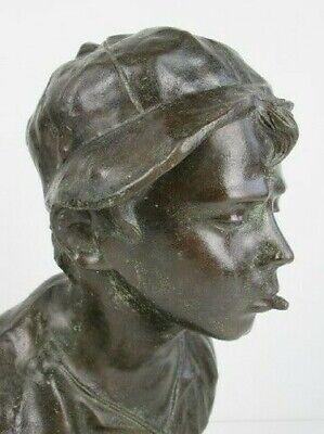 Importante Escultura Busto Niño Niño Pobre Fusión en Bronce en Mármol Xx Sec 6