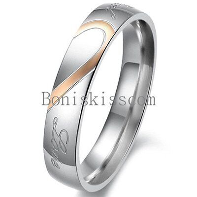 Couple Love Heart Stainless Steel Comfort Wedding Band Engagement Promise Ring 3