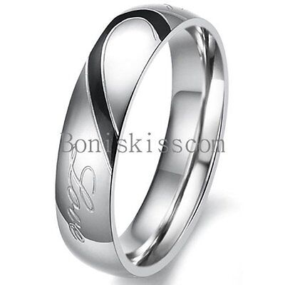 Couple Love Heart Stainless Steel Comfort Wedding Band Engagement Promise Ring 2