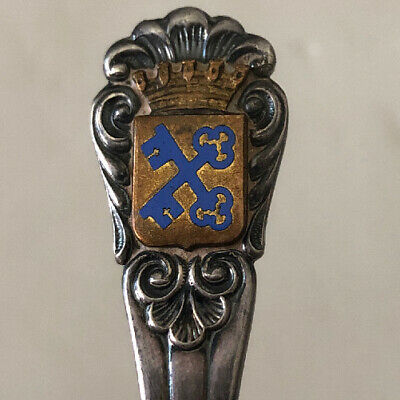 Antique Crown Over Crossed Blue Keys  MEMA EX. ALP Souvenir Collector Baby Spoon 2