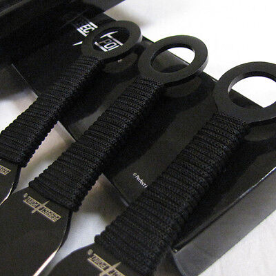 "Set of 3) - DEATH WISH - 9"" Kunia THROWING KNIVES Knife w/Sheath - Perfect Point 3 • $14.95"