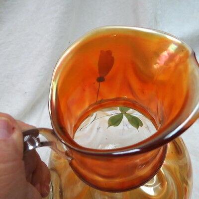 RARE FENTON water pitcher / marigold W/ draped ball bottom / hand painted LOTUS 10