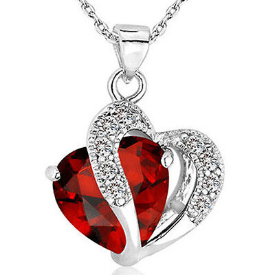 Fashion Women Heart Crystal Rhinestone Silver Chain Pendant Necklace Charm 6