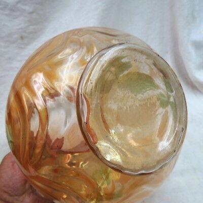 RARE FENTON water pitcher / marigold W/ draped ball bottom / hand painted LOTUS 8