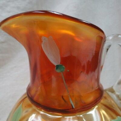 RARE FENTON water pitcher / marigold W/ draped ball bottom / hand painted LOTUS 6