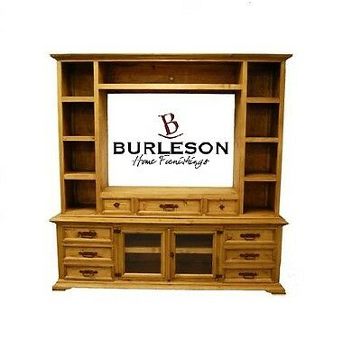 Rustic Entertainment Center Wall Unit Real Wood Tv Stand Media