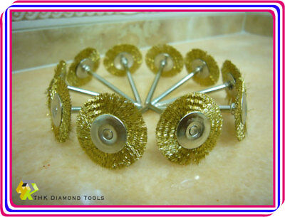 10 Brass Wire Rotary 25mm round FLAT BRUSH Cups Fits Dremel Tools 2