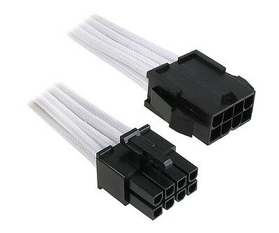 8 Pin PCI-E GPU Black White Sleeved Extension Cable 30cm Shakmods 2 Cable Combs