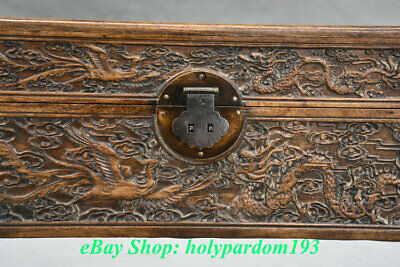 "12"" Old Chinese Huanghuali Wood Carving Palace Dragon Phoenix Jewel Case or Box 4"