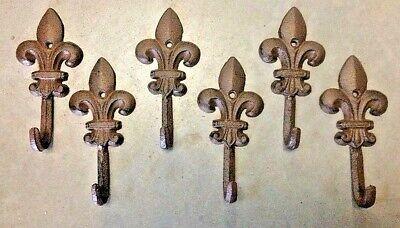 SET of 9 FLEUR DE LIS HOOKS rustic brown cast iron hooks for bathroom kitchen 2