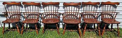 SET of (6) Vintage S BENT BROTHERS BROS COLONIAL WINDSOR CHAIRS 2 Arm 4 Side 2