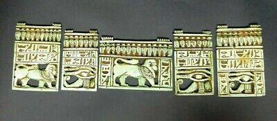 CIRCA 664-332BC Ancient Egyptian 5 Faience Panel Pendant SPHINX HORUS Eye BC 2