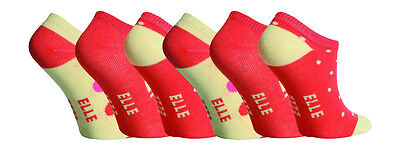6 Pairs Girls Elle Trainer Socks, Pretty Oranges, size 9-12 Uk, 27-30 Eur 2