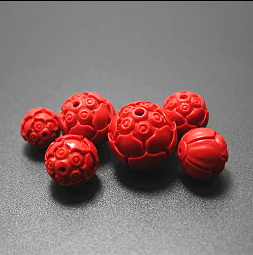 10pcsRed Cinnabar LotusSeedsCharmBeads Round Carved Fashion Necklace Finding~8mm 2