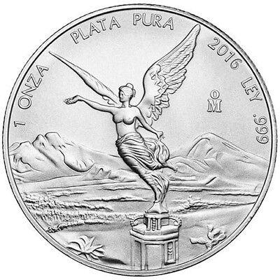 2016 1 oz Mexican Silver Libertad Coin (BU, Lot of 10)