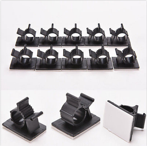 10x Cable Ties Clips Adhesive Cord Management Organizer Black Wire Holder Clamp 2
