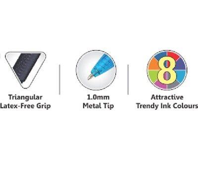 8 x Pentel BK460 e-flow Retractable Ball Pen 1.0mm Metal Tip triangular grip 6