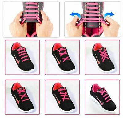 Elastic Silicone Shoelaces Shoe Lace Easy No Tie Kids Adult Lazy Trainers Rubber 4