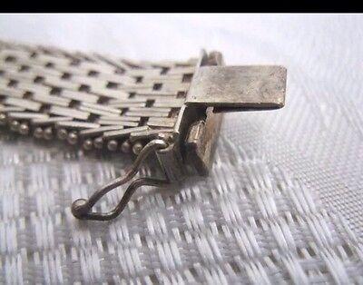 Vintage estate 925 sterling silver Mexico Taxco TJ 36 unique geometric woven mesh bracelet