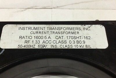 170SHT-162 Instrument Transformers Inc Current Transformer 1600:5A 50-400HZ