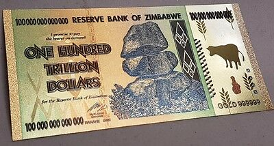 Zimbabwe 100 Trillion Dollars Banknote Gold Plated Pure 24K Gold Coloured 5