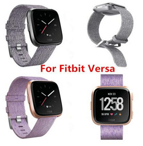 Woven Fabric Strap Wrist Band for Fitbit Versa Tracker w/ Stainless Metal Clasp 3