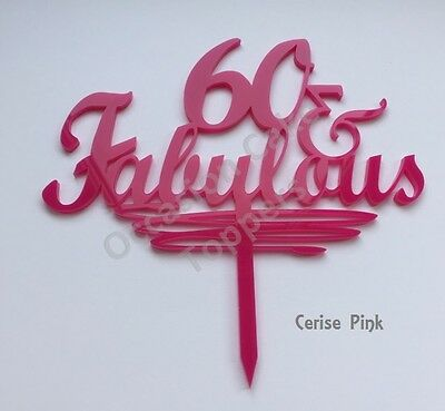 40, 50, 60 & Fabulous Cake Topper - Birthday Decoration - acrylic glitter mirror 6
