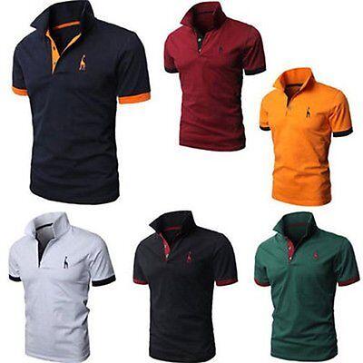 Sommer Herren Slim Fit Poloshirt Hemd Kurzarmshirt Casual Business T-Shirt Tops 3