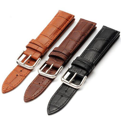 Mens Genuine Leather Watch Strap Band  Black Brown 14mm 16mm 18mm 20mm 22mm 24mm 2