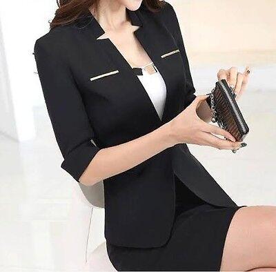 c73be38a93c45 1 sur 2 élégant Costume ensemble femme noir veste manches trois quart, jupe  code 7036
