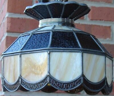 Vintage Stained Leaded Slag Glass PARLOR Lamp Amber & Opal Color Tiffany Style 2