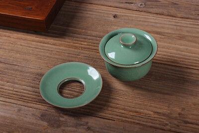 China cup bowl marked longquan celadon porcelain tureen crackle glaze gaiwan new