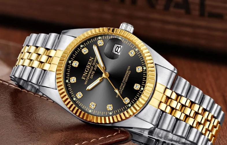 Men's Watch Relojes De Hombre Gold Stainless Steel Quartz Classic Small Dial 2