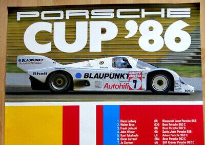 """orginal Porsche Plakat Poster """"Porsche Cup"""" 1986 Klaus Ludwig Joest Porsche 956 3"""