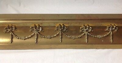 Vintage Neoclassical Brass Fireplace Fender w Bow and Swag Design Antique ?