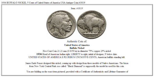 1936 BUFFALO NICKEL 5 Cents of United States of America USA Antique Coin i43819 3