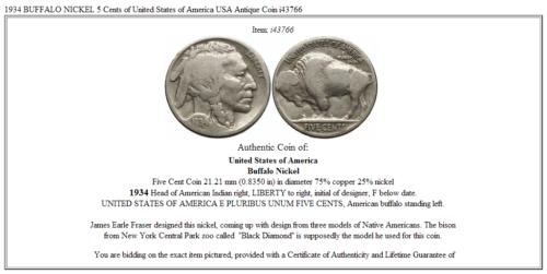1934 BUFFALO NICKEL 5 Cents of United States of America USA Antique Coin i43766 3